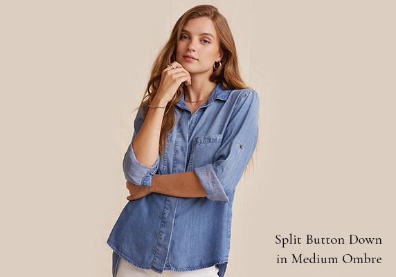 SPLIT BUTTON DOWN IN MEDIUM OMBRE