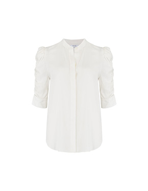 FRAME - Shirred Sleeve Top In Blanc