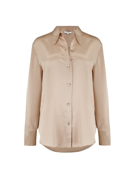 Vince - Shaped Collar Shirt In Sand Dollar