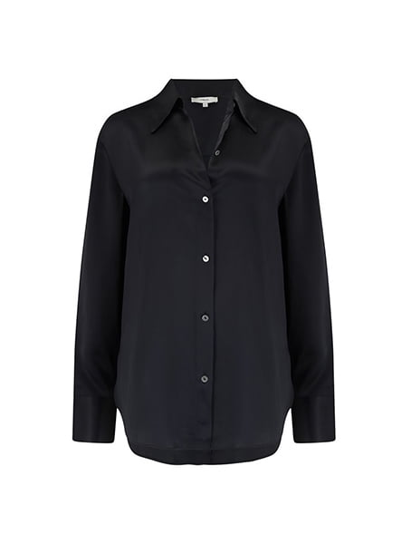 Vince - Shaped Collar Shirt In Black