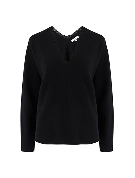 Vince - Fringe V-Neck Jumper In Black