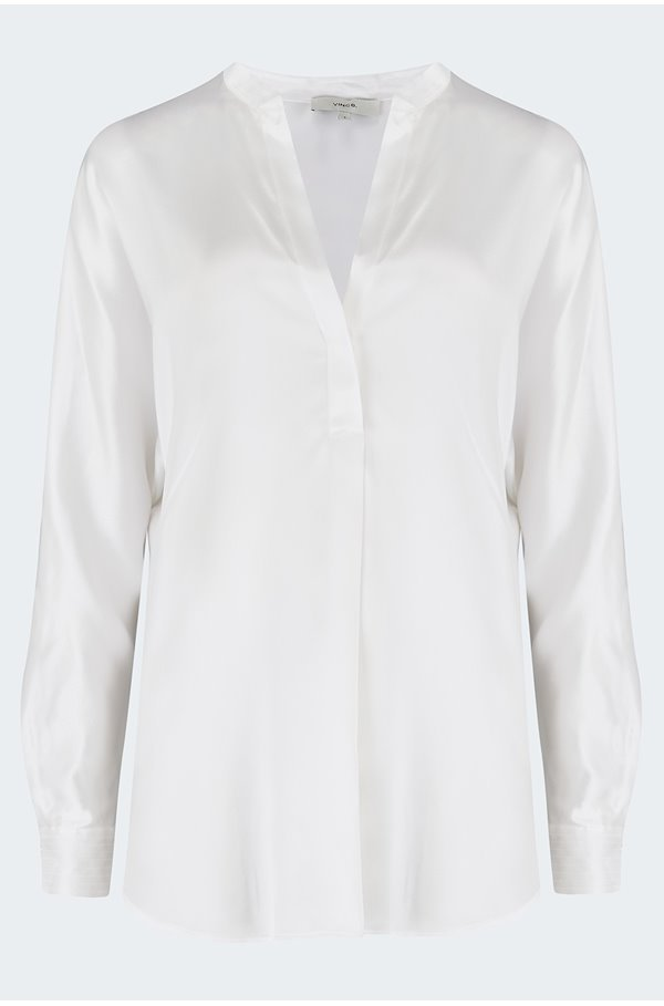 band collar blouse in optic white