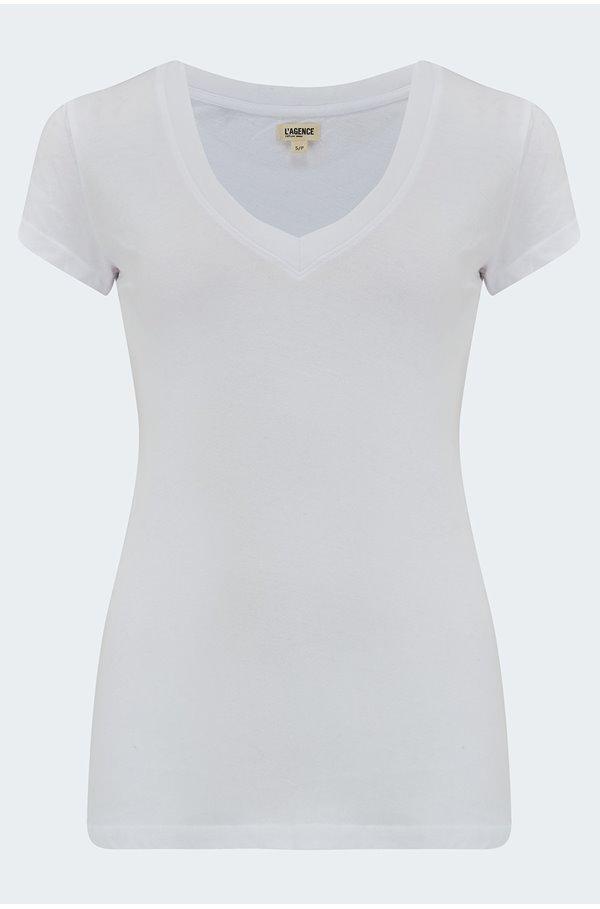 becca v-neck tee in white