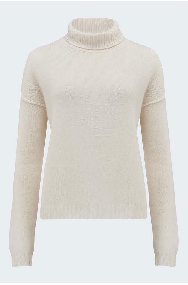 exposed roll neck jumper in cream