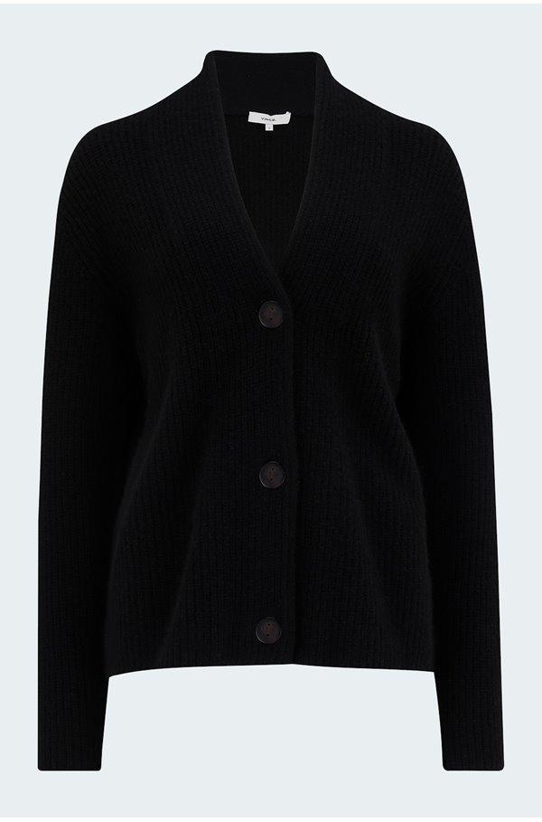 raised collar cardigan in black