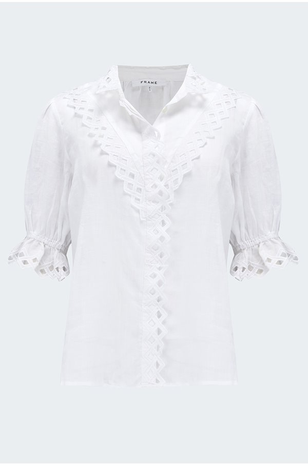 embroidered high neck blouse in blanc