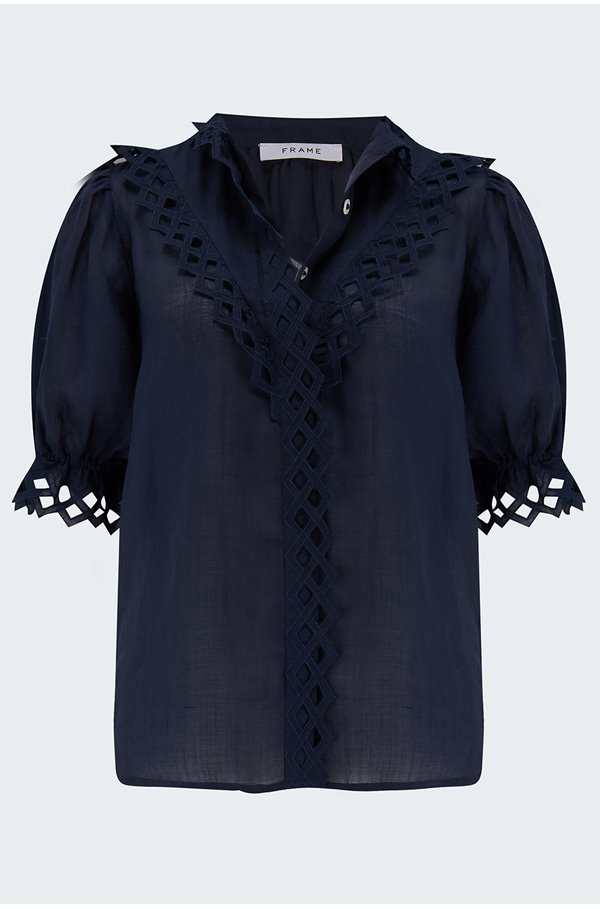embroidered high neck blouse in navy