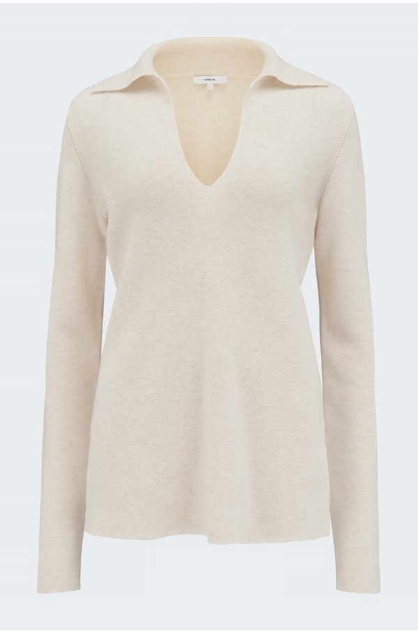 fitted polo jumper in heather shell