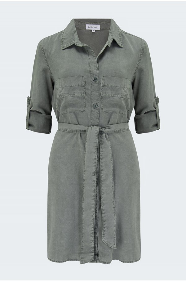 shirt tail dress in soft army