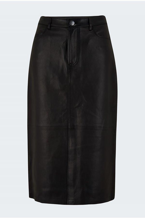 midi leather skirt in noir