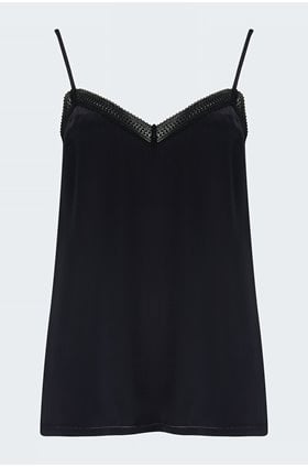 silk charmeuse cami in night with black