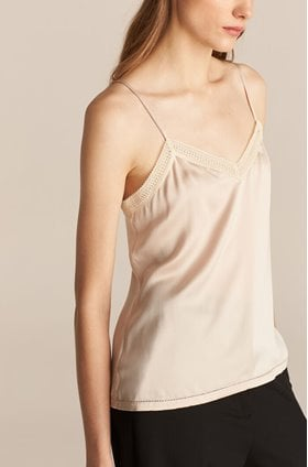 silk charmeuse blouse in sunset pink