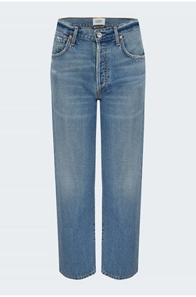 emery relaxed crop jean in old blue