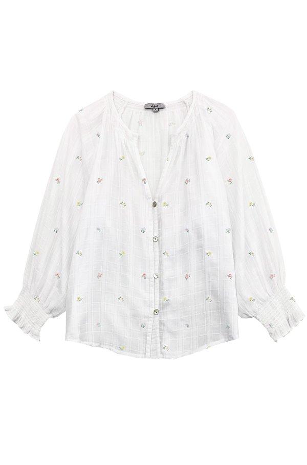 mariah blouse in white mini buds
