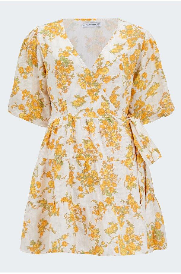 rooney wrap mini dress in linden