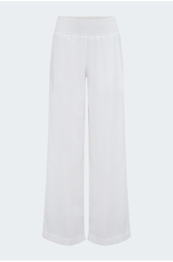 smocked wide leg trousers in white