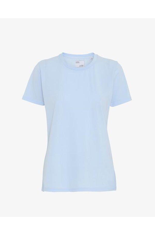 organic tee shirt in polar blue