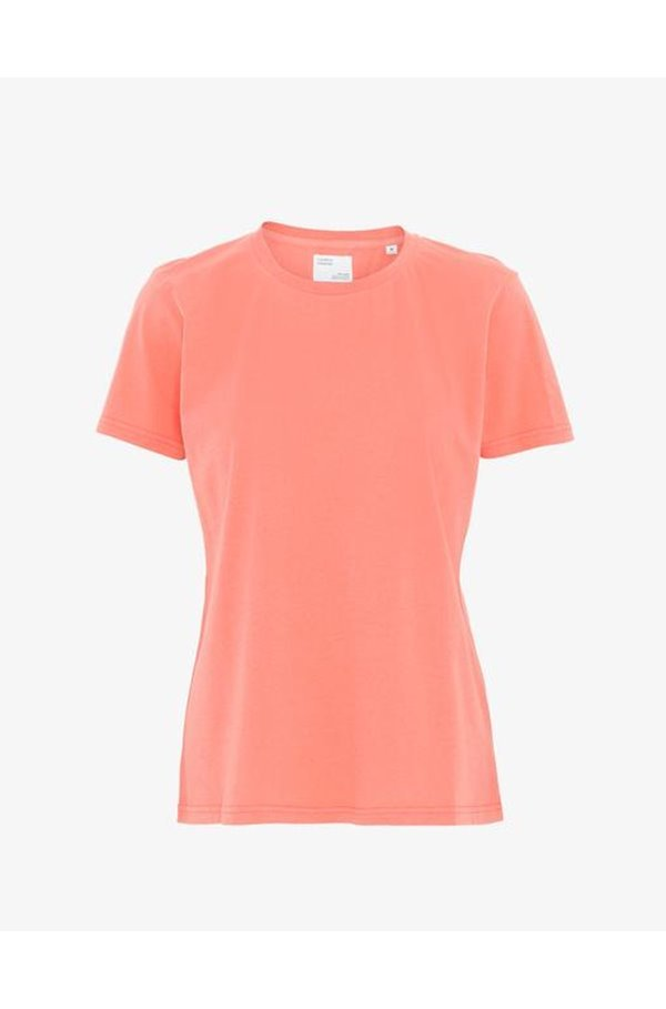 organic tee shirt in bright coral