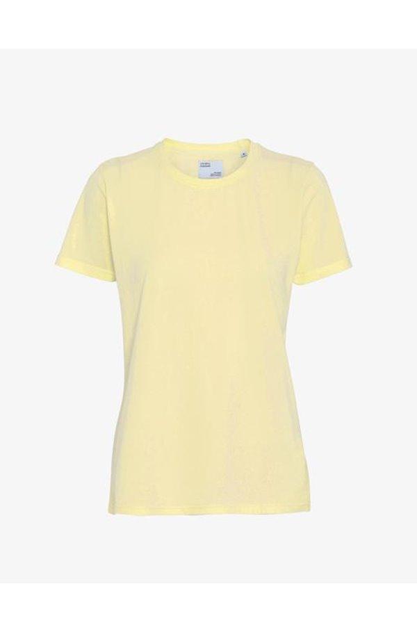 organic tee shirt in soft yellow