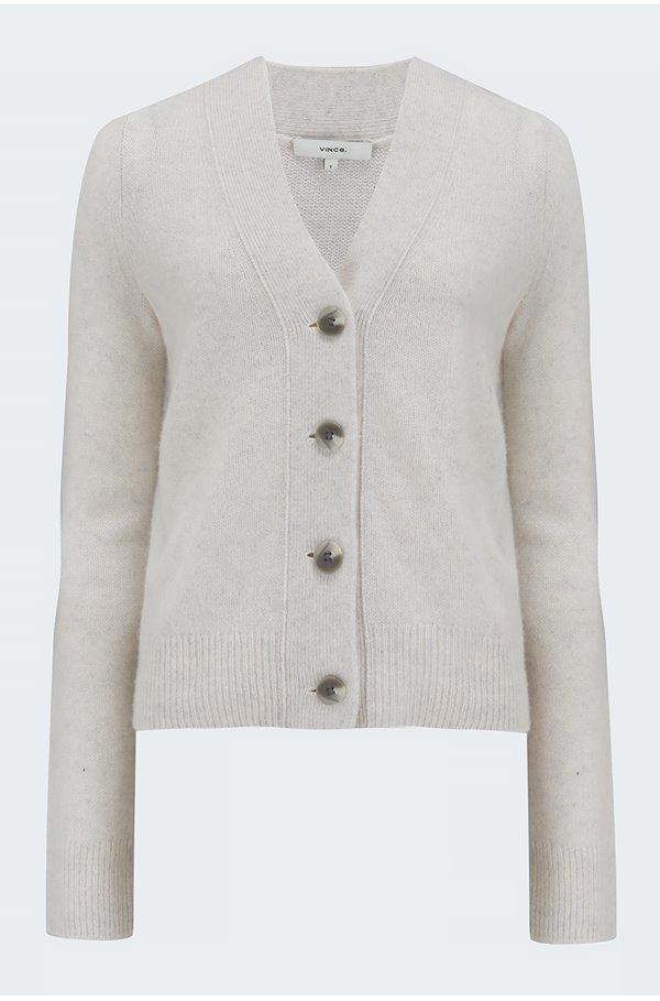 shrunken button cardigan in white