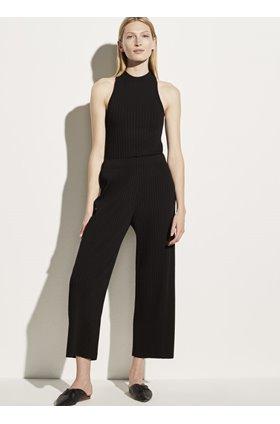 ribbed crop pant in black