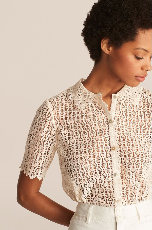pina lace embroidered shirt in natural