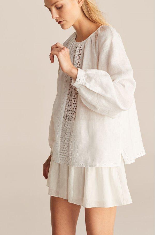 raglan crochet blouse in wax flower