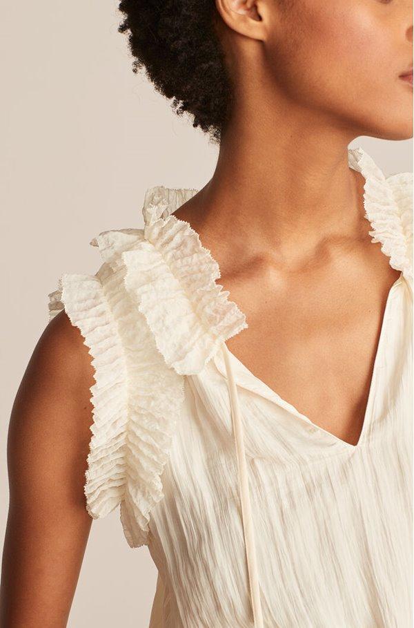 pleated blouse in vanilla bean
