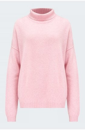 exposed roll neck jumper in pink marl
