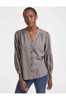 ella gathered blouse in tan and navy check