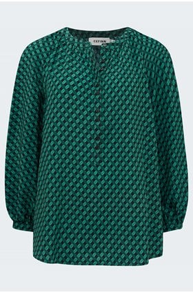 silk collared gathered blouse in green lips