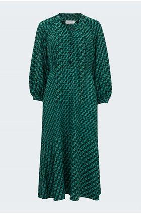 daria midi dress in green lips
