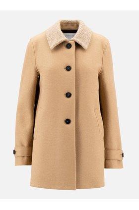loden boucle coat in tan