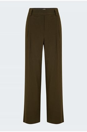 flannel high waisted pull on trouser in mineral pine
