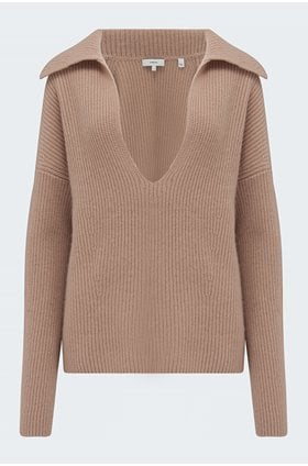 v neck collared pullover blouse in fauna