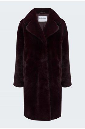 camille cocoon coat in dark burgundy