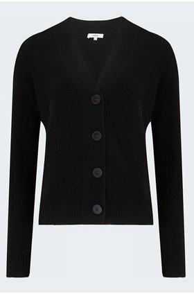 shrunken button cardigan in black