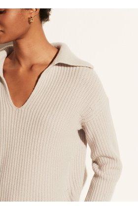v neck collared pullover jumper in sterling