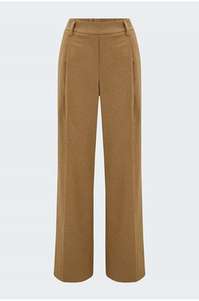 flannel high waisted pull on trousers in dark taupe