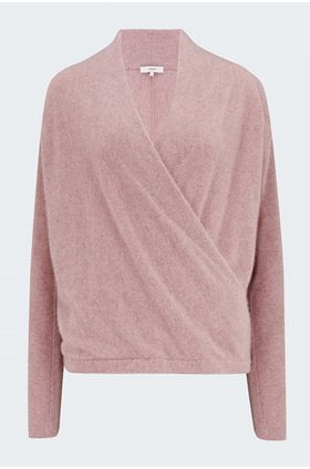 wrap front pullover jumper in pink shell