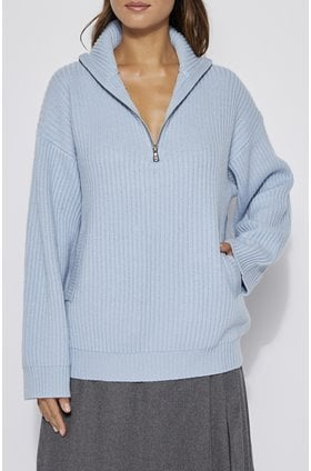 bowee half zip sweater in blue fog