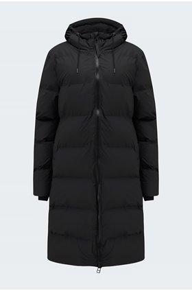 long puffer jacket in black