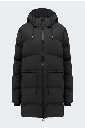 tie waist puffer jacket in black
