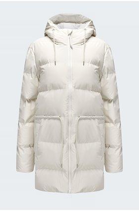 tie waist puffer jacket in off white