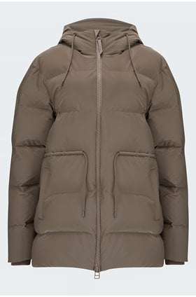 tie waist puffer jacket in velvet taupe