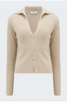 polo buttoned cardigan in white sand