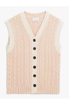 cable knit vest in pearl