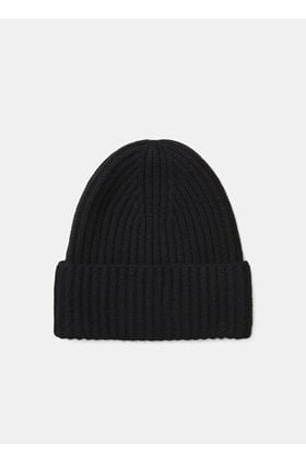 ribbed beanie hat in black