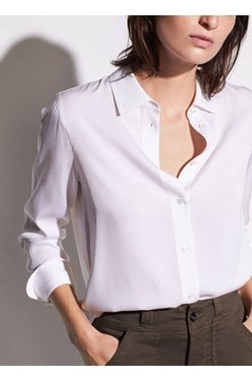 slim fitted blouse in optic white