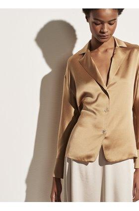 tie back blouse in pale walnut